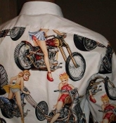 Pin up Girls on bikes party tuxedo shirt